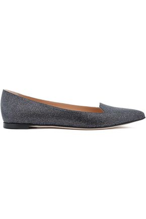 SERGIO ROSSI Glittered cotton-blend point-toe flats
