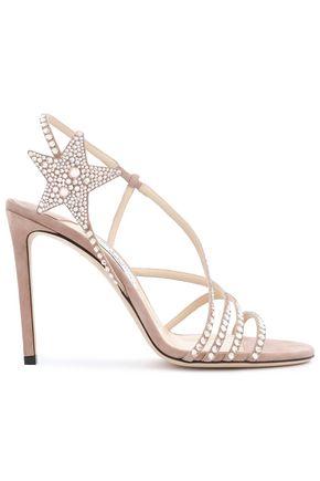 JIMMY CHOO Appliquéd crystal-embellished suede sandals