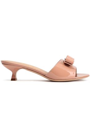 SALVATORE FERRAGAMO Bow-embellished patent-leather mules