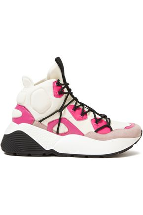 STELLA McCARTNEY Faux leather and quilted neoprene high-top sneakers