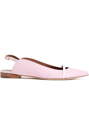 MALONE SOULIERS Marion patent-trimmed leather point-toe flats