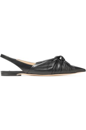 JIMMY CHOO Annabell knotted leather slingback point-toe flats