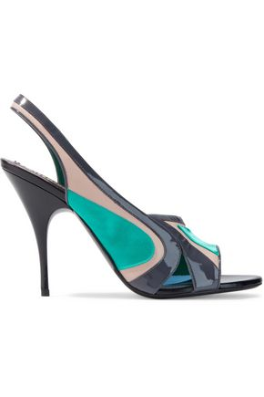 EMILIO PUCCI Color-block satin, suede and patent-leather slingback pumps