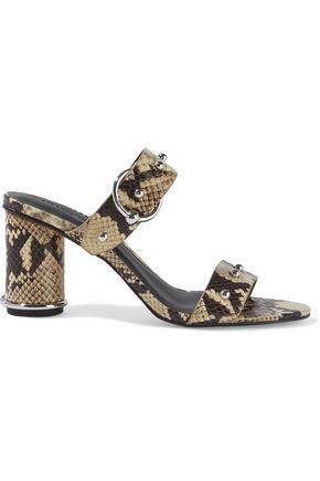 """REBECCA MINKOFF حذاء ميول """"أمالثيا تو"""" من الجلد بنقوش الثعبان مزخرف بأزرار معدنية"""
