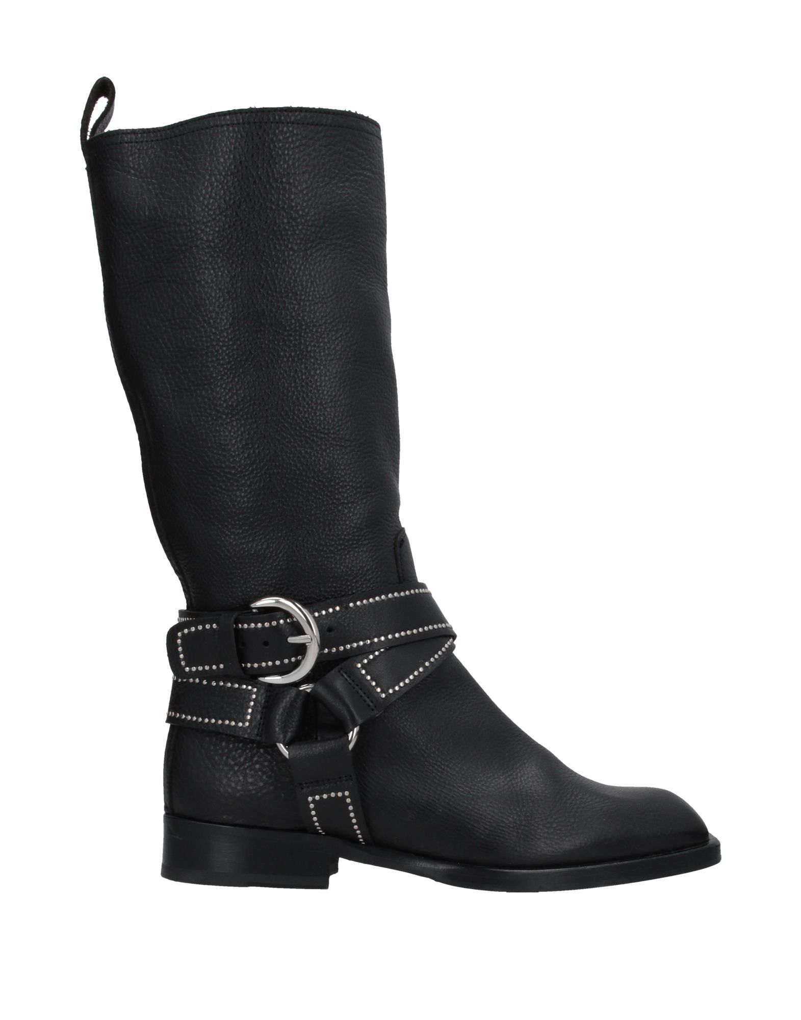 DONDUP Boots. textured leather, metal applications, buckle, solid color, square toeline, square heel, leather lining, leather/rubber sole, contains non-textile parts of animal origin, large sized. Soft Leather