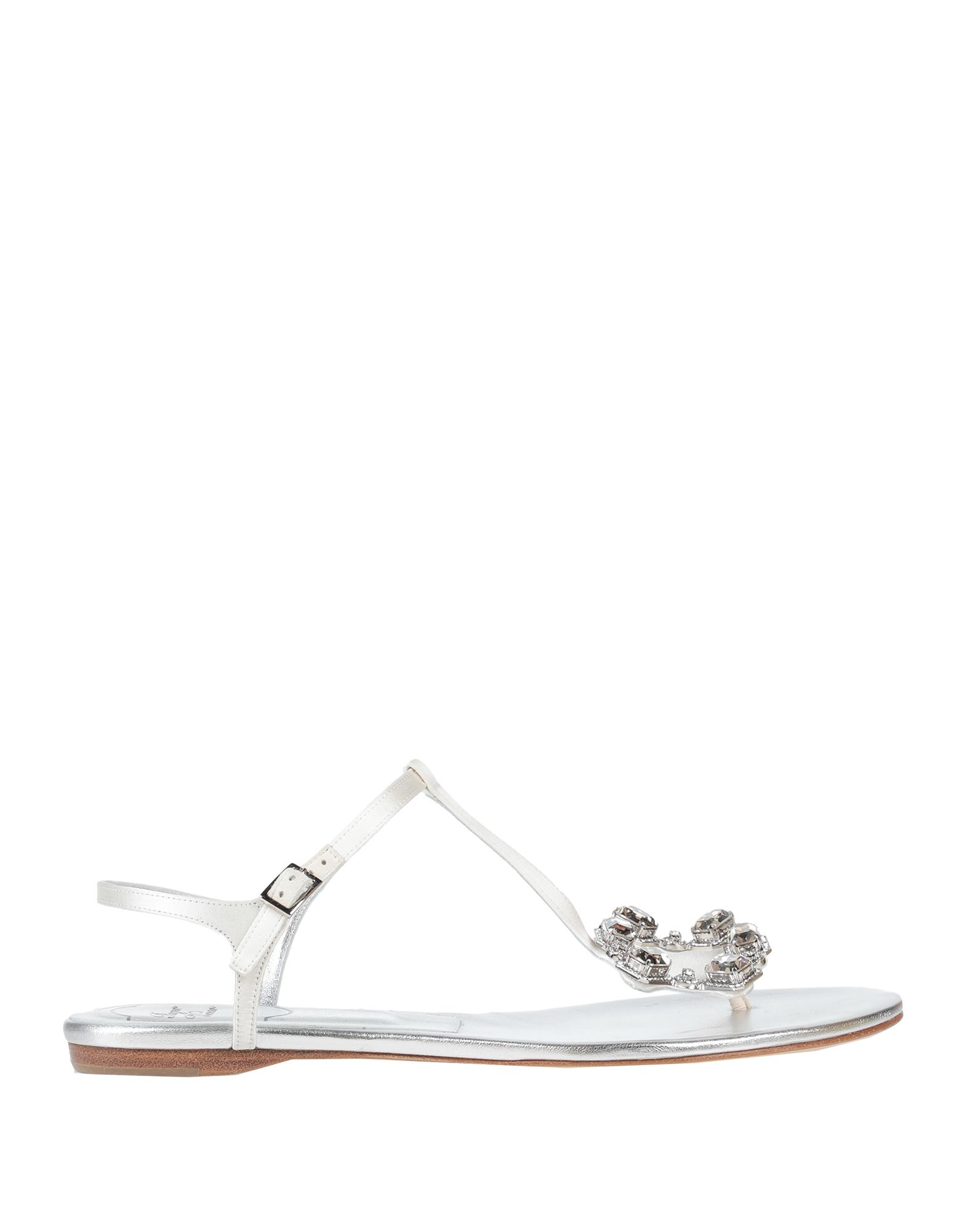 ROGER VIVIER Toe strap sandals. satin, rhinestones, solid color, buckling ankle strap closure, round toeline, flat, leather lining, leather sole, contains non-textile parts of animal origin. Textile fibers