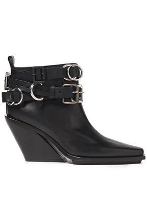 ANN DEMEULEMEESTER Vitello Seta buckled leather ankle boots