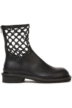 ANN DEMEULEMEESTER Macramé-trimmed leather ankle boots