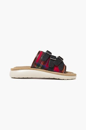MARC JACOBS Leather-trimmed buckle-embellished checked twill slides