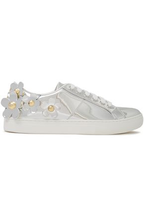 MARC JACOBS Floral-appliquéd faux mirrored-leather sneakers