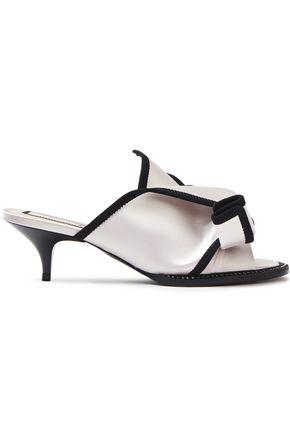N°21 Crystal-embellished grosgrain-trimmed satin sandals