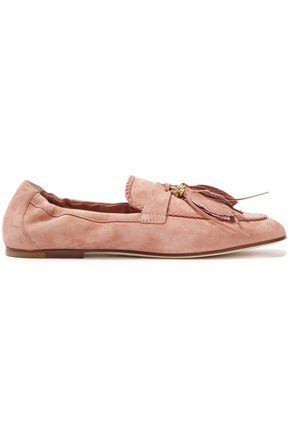 TOD'S Tasseled braid-trimmed suede loafers