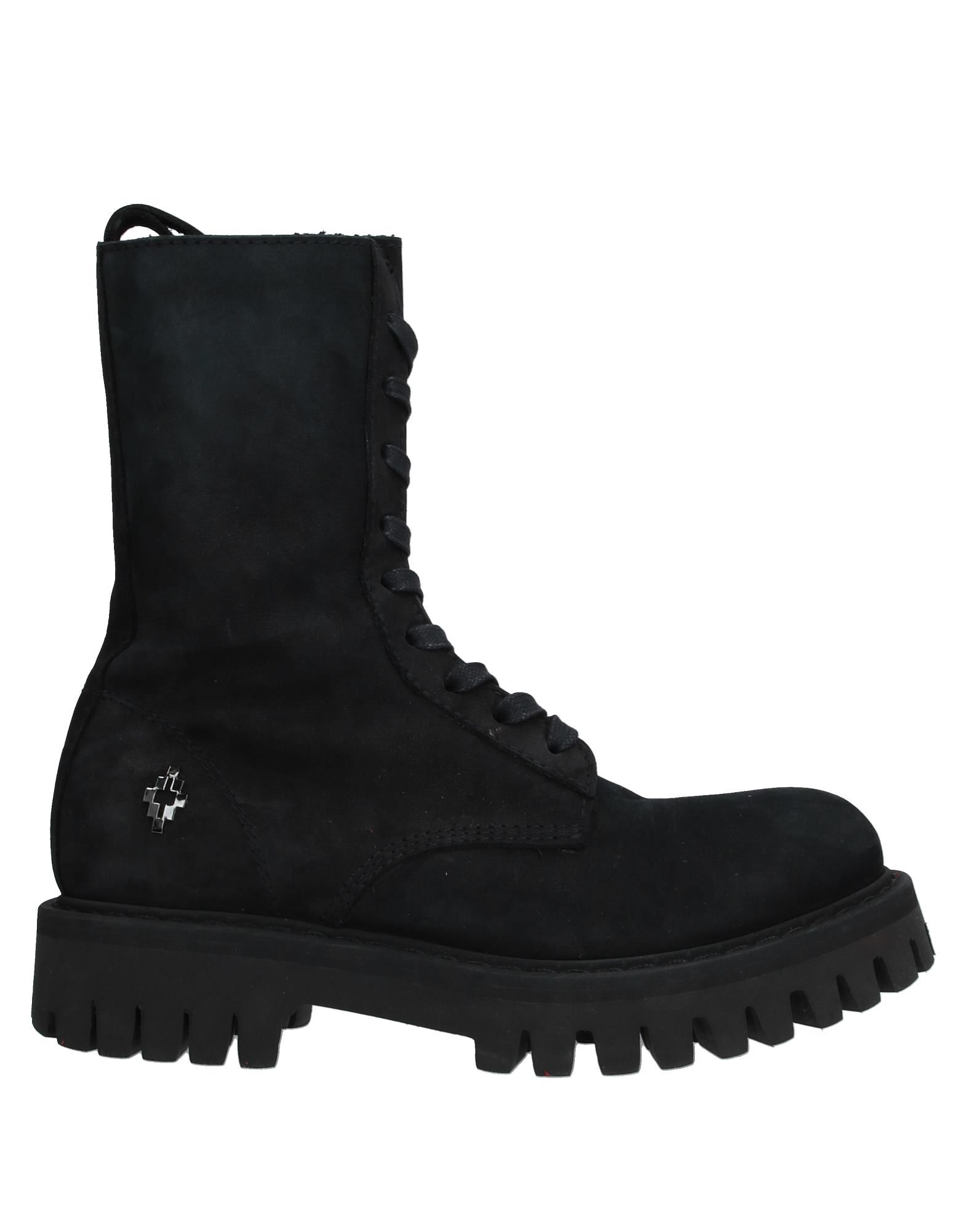 MARCELO BURLON Ankle boots. leather, nubuck, logo, solid color, laces, round toeline, square heel, rubber heel, leather lining, lug sole, contains non-textile parts of animal origin. Soft Leather
