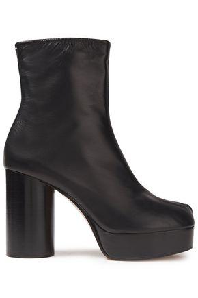 MAISON MARGIELA حذاء بوت إلى الكاحل بلاتفورم من الجلد اللامع والجلد الأملس