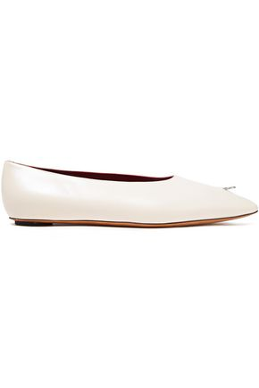 MARNI Embellished leather point-toe flats