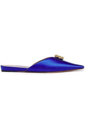 MARNI Embellished satin slipper