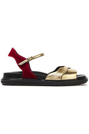 MARNI Metallic leather and velvet sandals