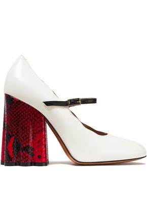 MARNI Scalloped leather Mary Jane pumps