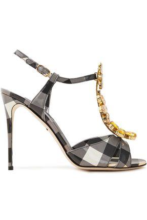 DOLCE & GABBANA Crystal-embellished glossed gingham woven sandals