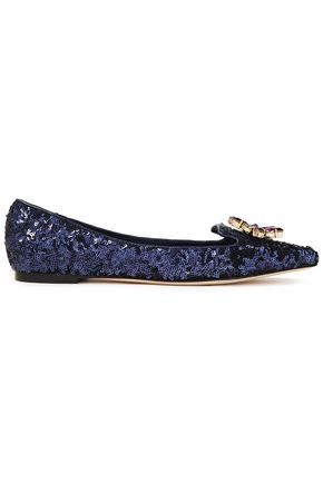 DOLCE & GABBANA Crystal-embellished sequined woven point-toe flats