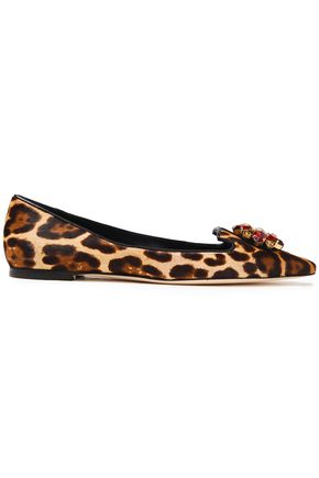 DOLCE & GABBANA حذاء مسطّح ذو مقدّمة مدببة من شعر العجل مع نقوش الفهد مزين بالكريستال