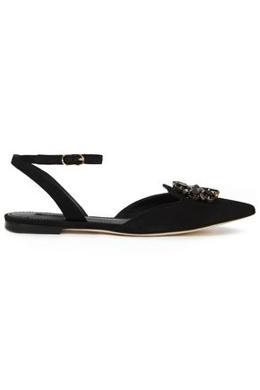 DOLCE & GABBANA حذاء مسطّح ذو مقدّمة مدببة من الشامواه مزين بالكريستال