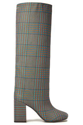 MM6 MAISON MARGIELA Prince of Wales checked wool-blend knee boots