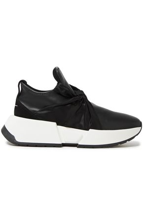 MM6 MAISON MARGIELA Ribbon bow-detailed faux leather slip-on sneakers