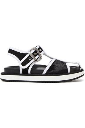 MM6 MAISON MARGIELA Cutout two-tone velvet sandals