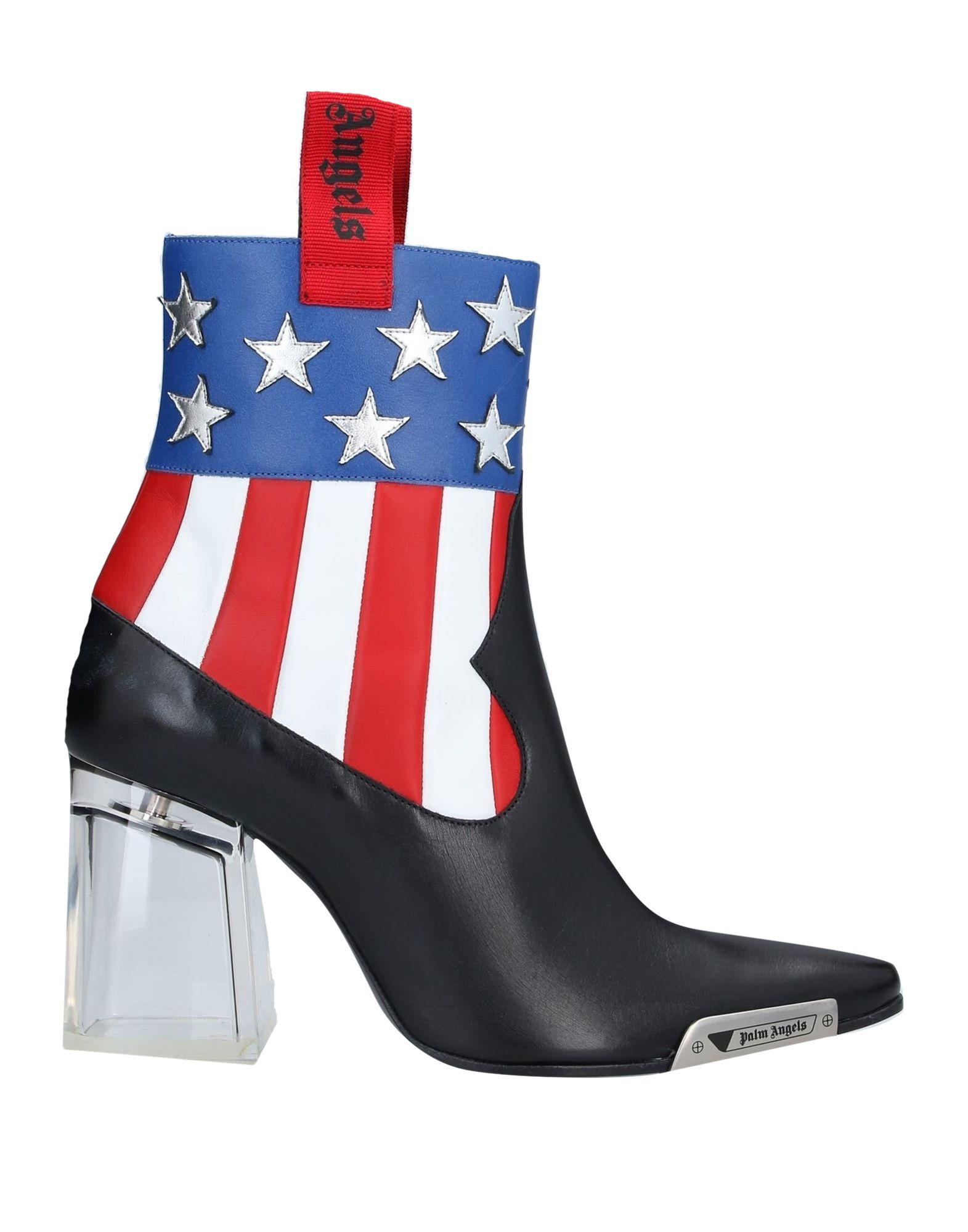 PALM ANGELS Ankle boots. contrasting applications, logo, multicolor pattern, zip, narrow toeline, square heel, leather lining, leather sole, contains non-textile parts of animal origin. Soft Leather