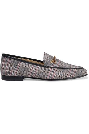 SAM EDELMAN Loraine embellished checked woven loafers