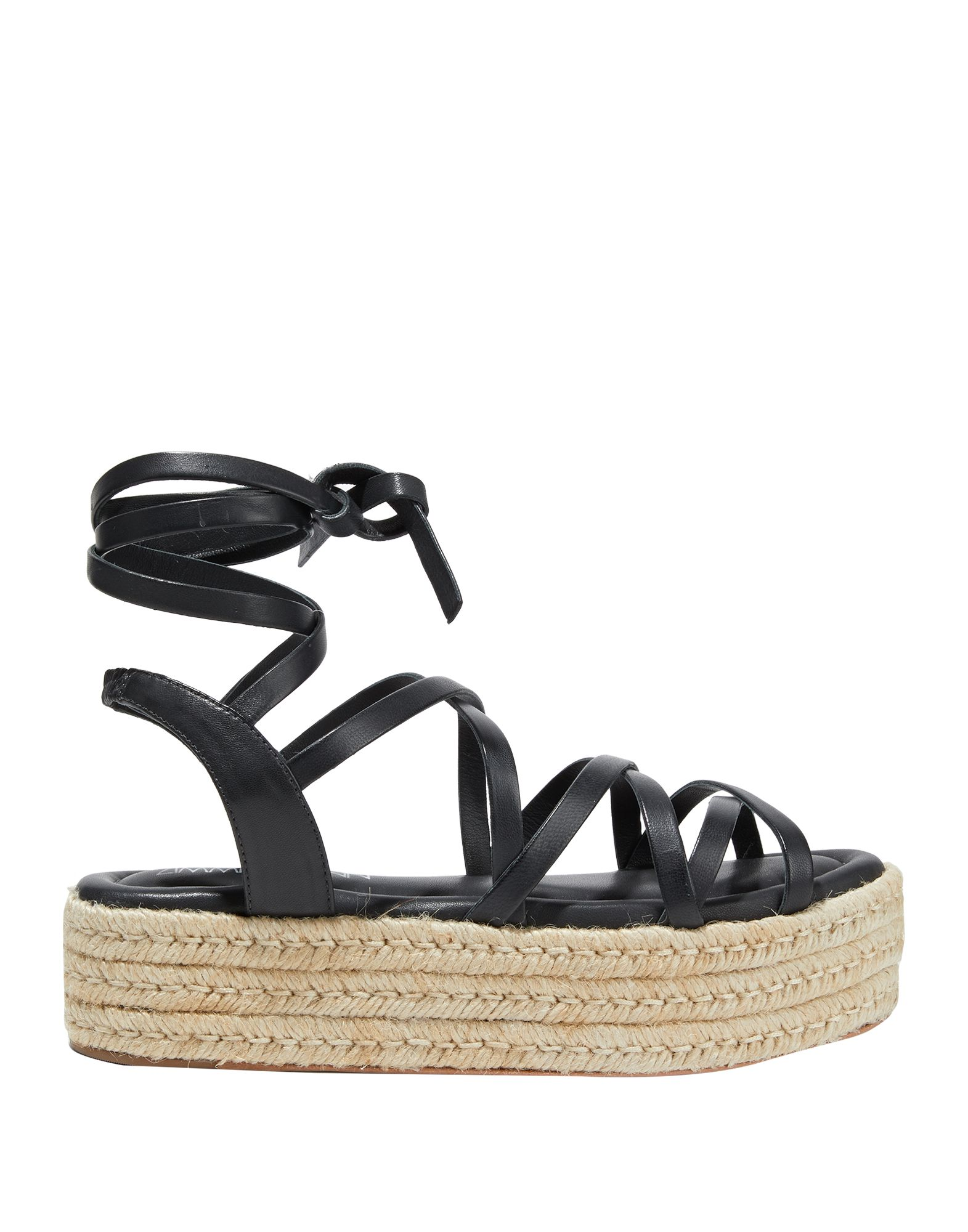 ZIMMERMANN Espadrilles. no appliqués, solid color, wrapping straps closure, round toeline, flatform, rope wedge, leather lining, leather/rubber sole, contains non-textile parts of animal origin. Soft Leather