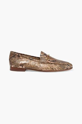 SAM EDELMAN Loraine embellished metallic snake-effect leather loafers