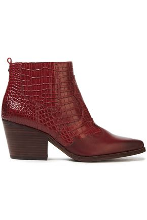 SAM EDELMAN Smooth and croc-effect leather ankle boots