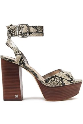 SAM EDELMAN Snake-effect leather platform sandals