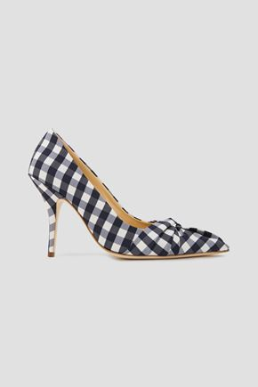MAJE Knotted gingham woven pumps
