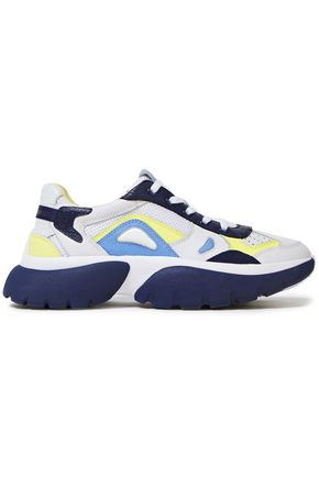 MAJE Color-block pebbled-leather and mesh sneakers