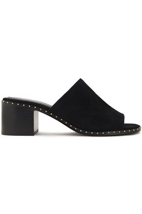 MAJE Studded suede mules
