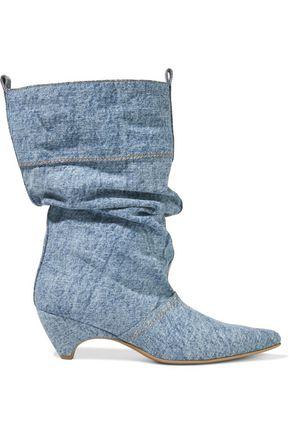 STELLA McCARTNEY Gathered faded denim boots