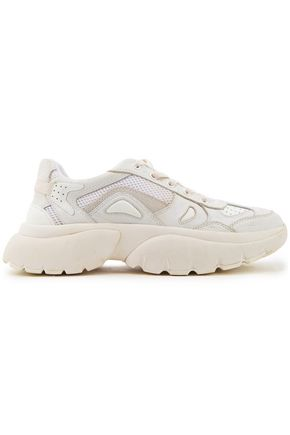 MAJE Mesh-paneled distressed leather sneakers