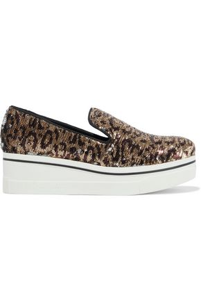 STELLA McCARTNEY Binx Star leopard-print sequined woven platform slip-on sneakers