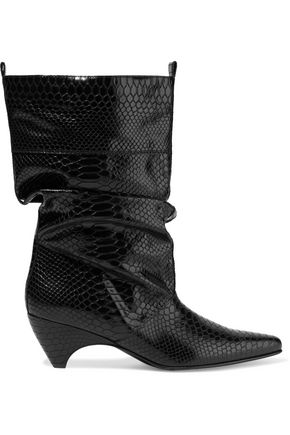 STELLA McCARTNEY Gathered glossed faux snake-effect leather boots