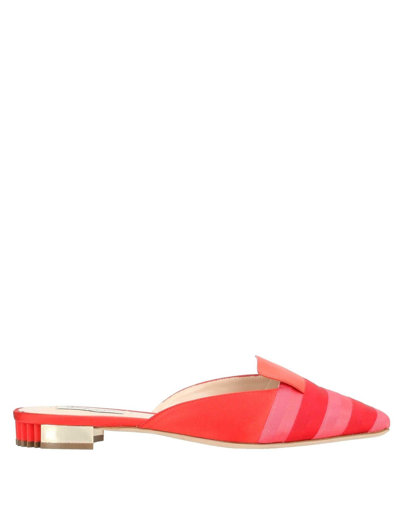 GIORGIO ARMANI Mules. grosgrain, no appliqués, stripes, square toeline, flat, leather lining, leather sole, contains non-textile parts of animal origin. 65% Viscose, 20% Cotton, 15% Mulberry silk, Lambskin