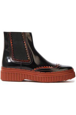 TOD'S Pink-trimmed polished-leather platform ankle boots