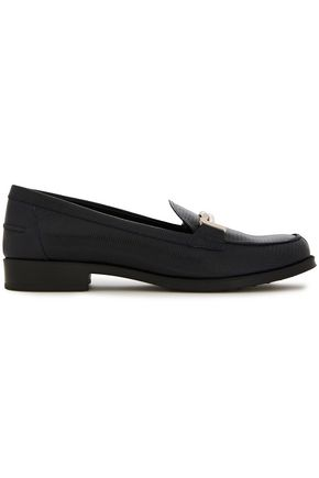 TOD'S Embellished lizard-effect leather loafers