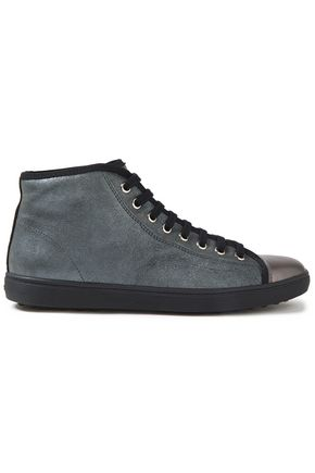 TOD'S Sport Cassetta leather-trimmed suede high-top sneakers
