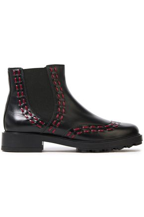 TOD'S Embroidered leather ankle boots