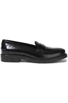TOD'S Pink-trimmed polished leather loafers