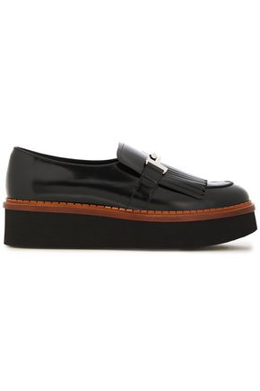 TOD'S Fringed leather platform loafers