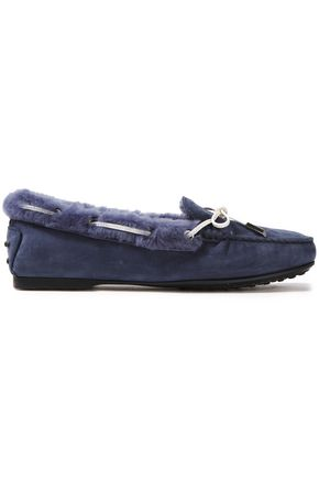 TOD'S Bow-detailed shearling-lined nubuck loafers